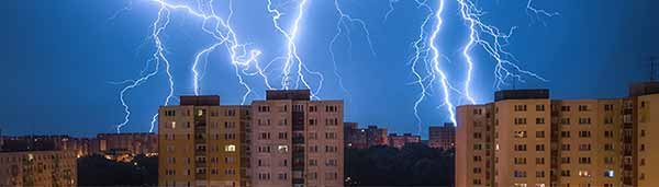 Lightning strikes buildings